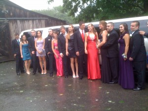 Prom in front of limo