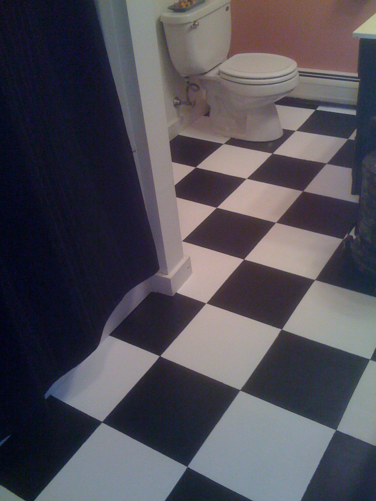 Diy painting old vinyl floor tiles mary wiseman designs the whole bathroom appears bigger cleaner and the eye is fooled into thinking these are actual tiles when i just painted over the old vinyl floor tiles doublecrazyfo Images