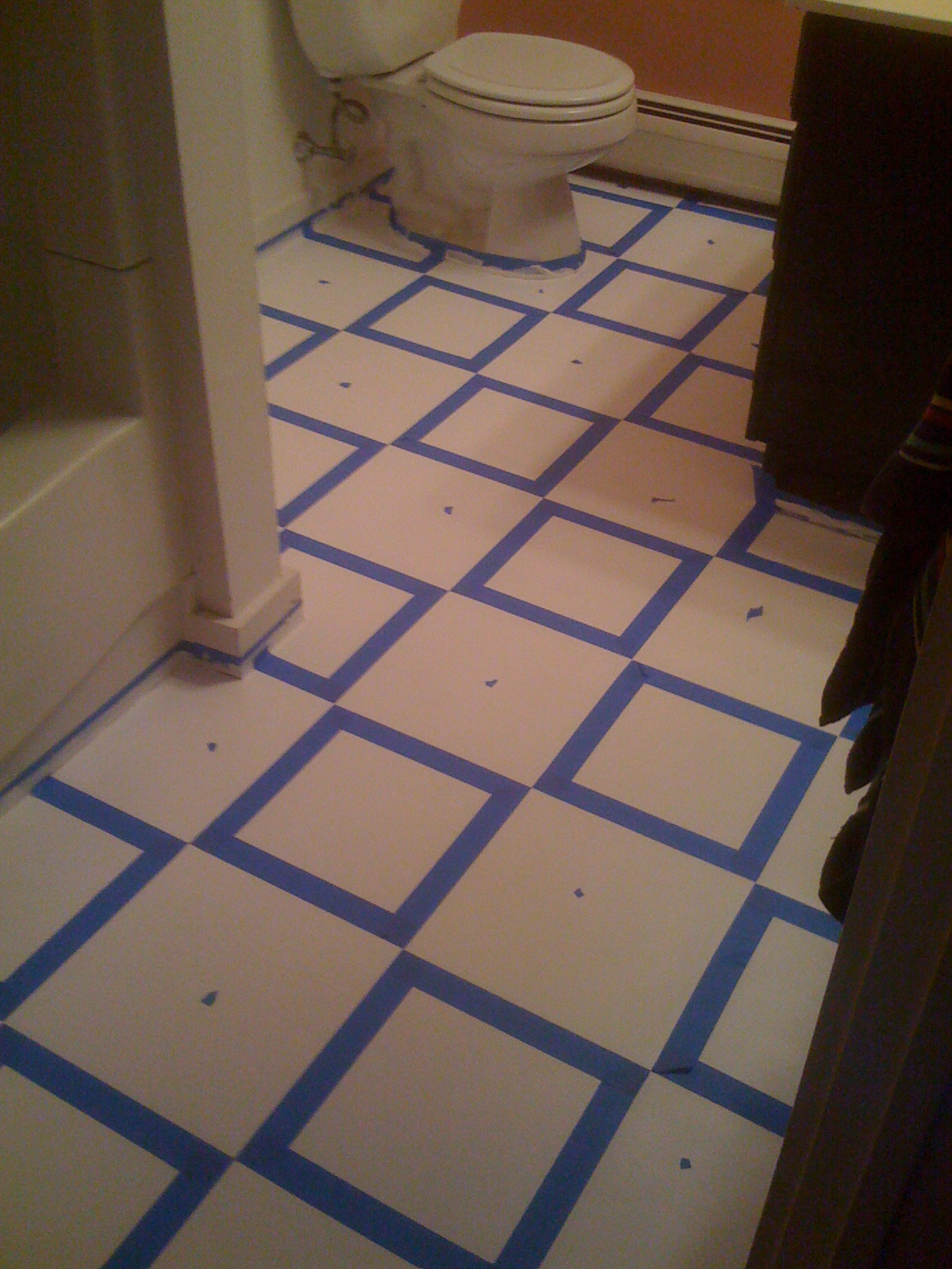Diy painting old vinyl floor tiles mary wiseman designs for Can you paint over vinyl flooring