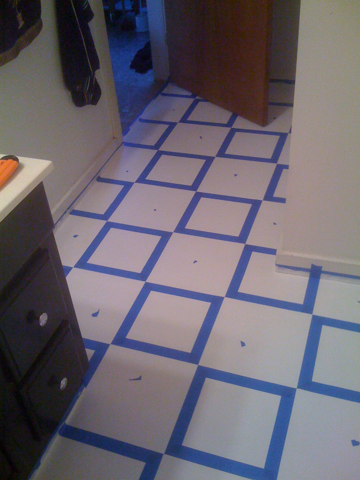Diy painting old vinyl floor tiles mary wiseman designs step 7 painting the black dailygadgetfo Image collections