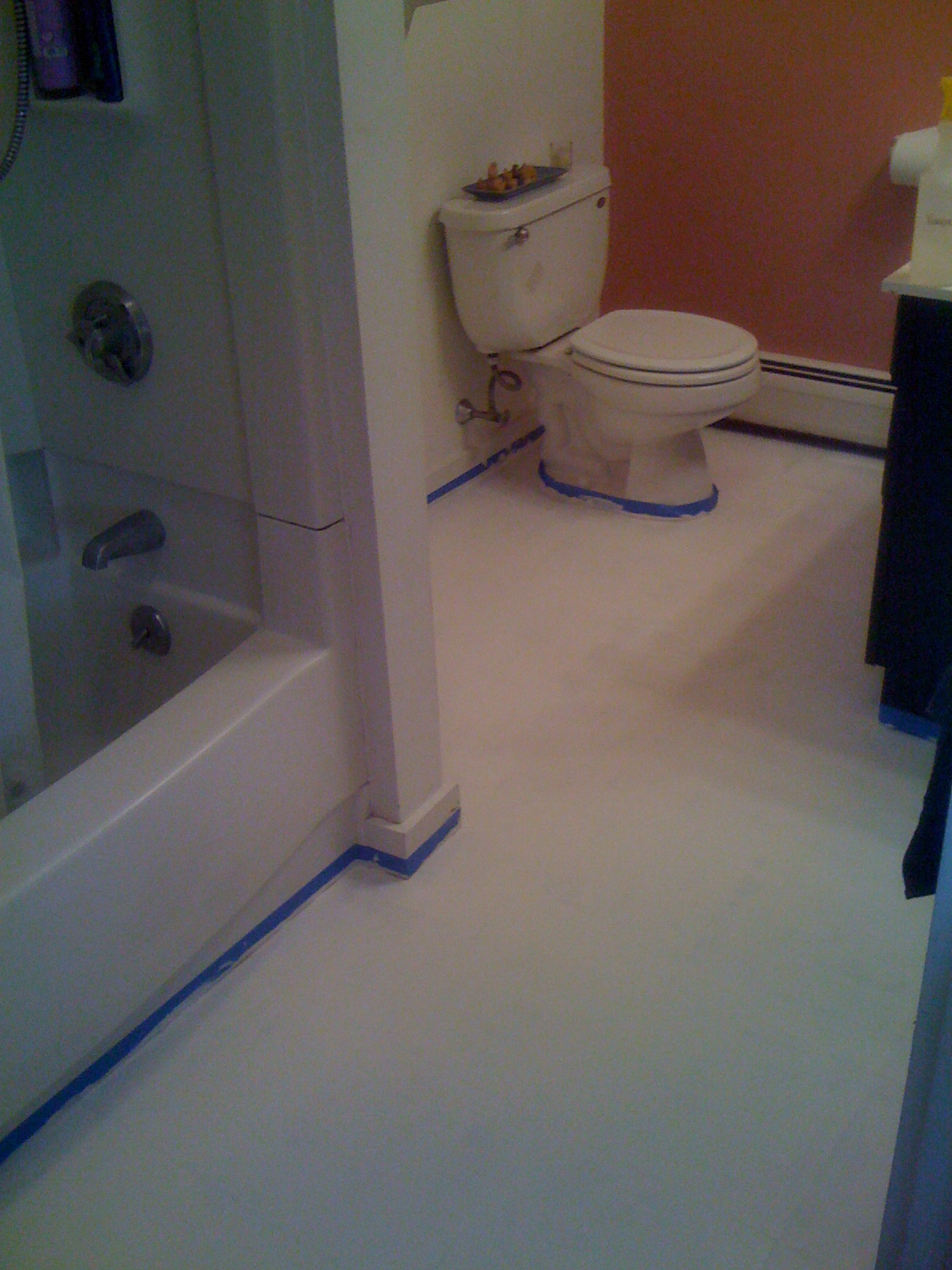 Diy painting old vinyl floor tiles mary wiseman designs for Painting over vinyl floor
